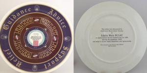 WCCA Plate Designed by Jane Duncan Presented to Eddie Weir
